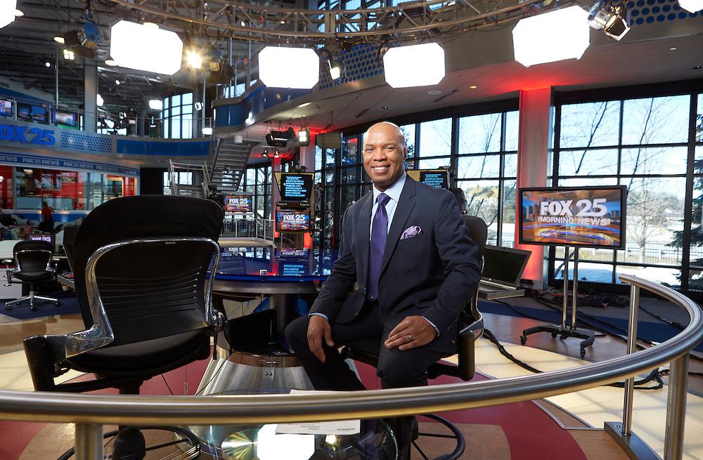 Dedham, MA 03/25/2015<br /> High Point University alumnus Daniel Miller anchors Fox 25's early morning newscast.<br /> Alex Jones / www.alexjonesphoto.com