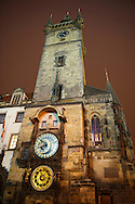 Prague's Old Town hall Square with Town Hall tower at night