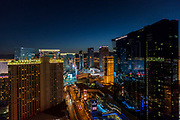 Elevated view of The Strip, Las Vegas, Nevada, USA. Hilton Grand Vacations Hotel and Casino in the centre. Night photography.