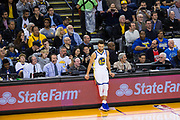 Golden State Warriors guard Stephen Curry (30) hangs out on the sidelines during gameplay against the New York Knicks at Oracle Arena in Oakland, Calif., on May 2, 2017. (Stan Olszewski/Special to S.F. Examiner)