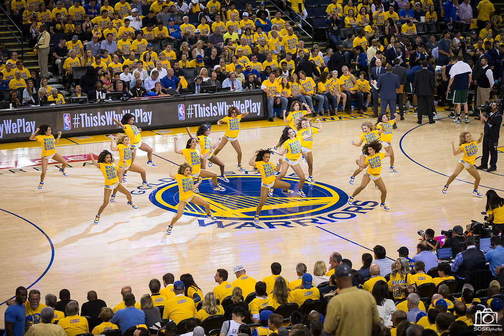 Golden State Warriors cheerleaders perform during a timeout against the Utah Jazz during Game 1 of the Western Conference Semifinals at Oracle Arena in Oakland, Calif., on May 2, 2017. (Stan Olszewski/Special to S.F. Examiner)