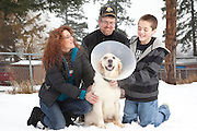 Austin Forman, with dog Angel.  Angel fought off a cougar attack in January 2010 behind the family home in Boston Bar, BC, Canada.