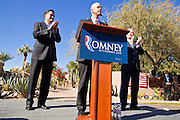 06 DECEMBER 2011 - PARADISE VALLEY, AZ: Pinal County Sheriff Paul Babeu (CQ) introduces former Gov Mitt Romney (CQ LEFT) while former Vice President Dan Quayle (CQ RIGHT) stands by at Hermosa Inn. Former Vice President Dan Quayle endorsed Republic Presidential hopeful Mitt Romney at the Hermosa Inn in Paradise Valley Tuesday.    PHOTO BY JACK KURTZ