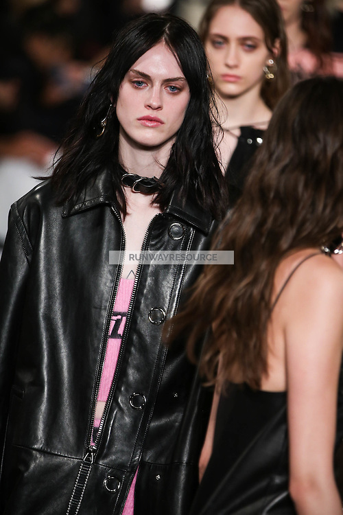 Sarah Brannon walks the runway wearing Alexander Wang Fall 2016 during New York Fashion Week on February 13, 2016