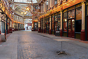 On the first day of the government's second national Coronavirus lockdown, a single table remains out after weeks of limited income has been providing income for bars and businesses in Leadenhall Market in the capital's financial district, the Square Mile, on 5th November 2020, in London, England. Although most workers are still working from home, the continuing pandemic restrictions are damaging small buinesses anf the wider UK economy. The current lockdown is to last at least 4 weeks in the run-up to Christmas.
