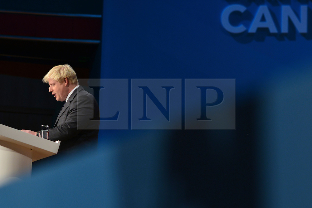 © Licensed to London News Pictures. 09/10/2012. Birmingham, UK Lord Mayor of London, Boris Johnson, delivers his speech at The Conservative Party Conference at the ICC today 9th October 2012. Photo credit : Stephen Simpson/LNP