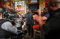Shaquille O'Neal at the Basketball Hall of Fame announcements.