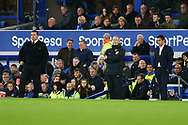 Everton Acting Manager David Unsworth (l) and Watford Manager Marco Silva look on from the touchline. Premier league match, Everton vs Watford at Goodison Park in Liverpool, Merseyside on Sunday 5th November 2017.<br /> pic by Chris Stading, Andrew Orchard sports photography.