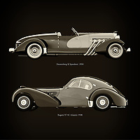For the lover of old classic cars, this combination of a Duesenberg SJ Speedster  1933 and Bugatti 57-SC Atlantic 1938 is truly a beautiful work to have in your home.<br /> The classic Duesenberg SJ Speedster and the beautiful Bugatti 57 are among the most beautiful cars ever built.<br /> You can have this work printed in various materials and without loss of quality in all formats.<br /> For the oldtimer enthusiast, the series by the artist Jan Keteleer is a dream come true. The artist has made a fine selection of the very finest cars which he has meticulously painted down to the smallest detail. – –<br /> -<br /> <br /> BUY THIS PRINT AT<br /> <br /> FINE ART AMERICA<br /> ENGLISH<br /> https://janke.pixels.com/featured/duesenberg-sj-speedster-1933-and-bugatti-57-sc-atlantic-1938-jan-keteleer.html<br /> <br /> WADM / OH MY PRINTS<br /> DUTCH / FRENCH / GERMAN<br /> https://www.werkaandemuur.nl/nl/shopwerk/Duesenberg-SJ-Speedster-1933-en-Bugatti-57-SC-Atlantic-1938/755154/132?mediumId=1&size=60x60<br /> –