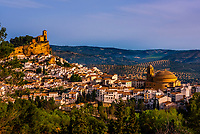 The hilltop village of Montefrio, Granada Province, Andalusia, Spain with the Church of La Villa above it (on left) and the Church of La Encarnacion (on right).  Montefrio was called one of the top ten towns with the best views in the world by National Geographic.