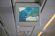Inflight information screen showing map inside aircraft