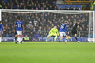 Jamie Vardy of Leicester City (9) scores his teams 1st goal from the penalty spot to make it 2-1. Premier league match, Everton v Leicester City at Goodison Park in Liverpool, Merseyside on Wednesday 31st January 2018.<br /> pic by Chris Stading, Andrew Orchard sports photography.