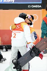 February 14, 2018 - PyeongChang, South Korea - Gold medal winner SHAUN WHITE of USA hugs silver medal winner AYUMU HIRANO of Japan in Snowboard Men's Halfpipe Final at Phoenix Snow Park during the 2018 Pyeongchang Winter Olympic Games. (Credit Image: © Scott Mc Kiernan via ZUMA Wire)