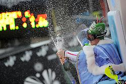 06.01.2013, Crveni Spust, Zagreb, CRO, FIS Ski Alpin Weltcup, Slalom, Herren, Podium, im Bild Marcel Hirscher (AUT, Platz 1) // 1st palce Marcel Hirscher of Austria celebrate on podium of the mens Slalom of the FIS ski alpine world cup at Crveni Spust course in Zagreb, Croatia on 2013/01/06. EXPA Pictures © 2013, PhotoCredit: EXPA/ Pixsell/ Daniel Kasap..***** ATTENTION - for AUT, SLO, SUI, ITA, FRA only *****