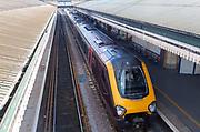 GWR train at platform in St David's railway station, Exeter, Devon, England, UK