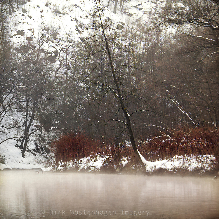 Misty winter morning at river Wupper/Germany.<br /> Prints & more:<br /> http://society6.com/DirkWuestenhagenImagery/silent-cold-river