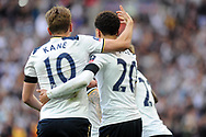 Tottenham's Harry Kane (10) celebrates with team mate Deli Alli (20) after Alli's second goal equaliser to make it 2-2. The Emirates FA Cup semi-final match, Chelsea v Tottenham Hotspur at Wembley Stadium in London on Saturday 22nd April 2017.<br /> pic by Carl Robertson,  Andrew Orchard sports photography.