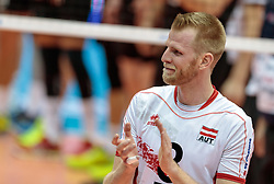 09.06.2017, TipsArena, Linz, AUT, FIVB, World League, Österreich vs Deutschland, Division III, Gruppe C, Herren, im Bild Peter Wohlfahrtstaetter (AUT) // during the men's FIVB, Volleyball World League, Division III, Group C match between Austria and Germany at the TipsArena in Linz, Austria on 2017/06/09. EXPA Pictures © 2017, PhotoCredit: EXPA/ JFK