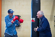 NO FEE PICTURES<br /> 22/7/18 Actor Liam Neeson, who is currently fliming in Northern Ireland, stopped by O'Hanlon Park Amateur Boxing Club, Dundalk today, much to the surprise and delight of local community members. The Club/Community Hall is open to members of the community of all ages - children from seven years of age right through to adults who have reached retirement age. Neeson is a long time friend of Hotelier John Fitzpatrick who has been involved with the boxing club since 2011 when he made a donation to the Club when he participated in The Secret Millionaire show which aired on RTE 1.   Following the broadcast of the programme, John helped raise more than €425,000 through the Eithne & Paddy Fitzpatrick Memorial Fund and the Boxing Club raised over €56,000 including a grant, to enable the Club move to the new building. Pictured are Liam Neeson and John Fitzpatrick. Picture:Arthur Carron
