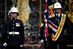 Royal Marines prepare for the Captain General's parade attended by the Duke of Edinburgh at his final individual public engagement at Buckingham Palace in London.