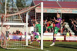 Crawley's Lewis Price fails to keep out Bristol City's Luke Ayling's header - Photo mandatory by-line: Dougie Allward/JMP - Mobile: 07966 386802 - 07/03/2015 - SPORT - Football - Crawley - Broadfield Stadium - Crawley Town v Bristol City - Sky Bet League One