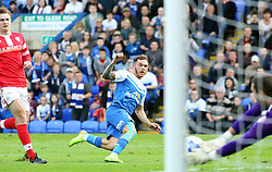 Peterborough United's Jon Taylor watches his shot saved by Barnsley's Ross Turnbull - Photo mandatory by-line: Joe Dent/JMP - Mobile: 07966 386802 - 18/10/2014 - SPORT - Football - Peterborough - London Road Stadium - Peterborough United v Barnsley - Sky Bet League One