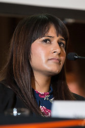 © Licensed to London News Pictures . 18/11/2014 . Kent , UK . Labour Party candidate NAUSHABAH KHAN at a hustings in the Rochester and Strood by-election , held at the Corn Exchange in Rochester , this evening ( 18th November 2014 ) . Photo credit : Joel Goodman/LNP