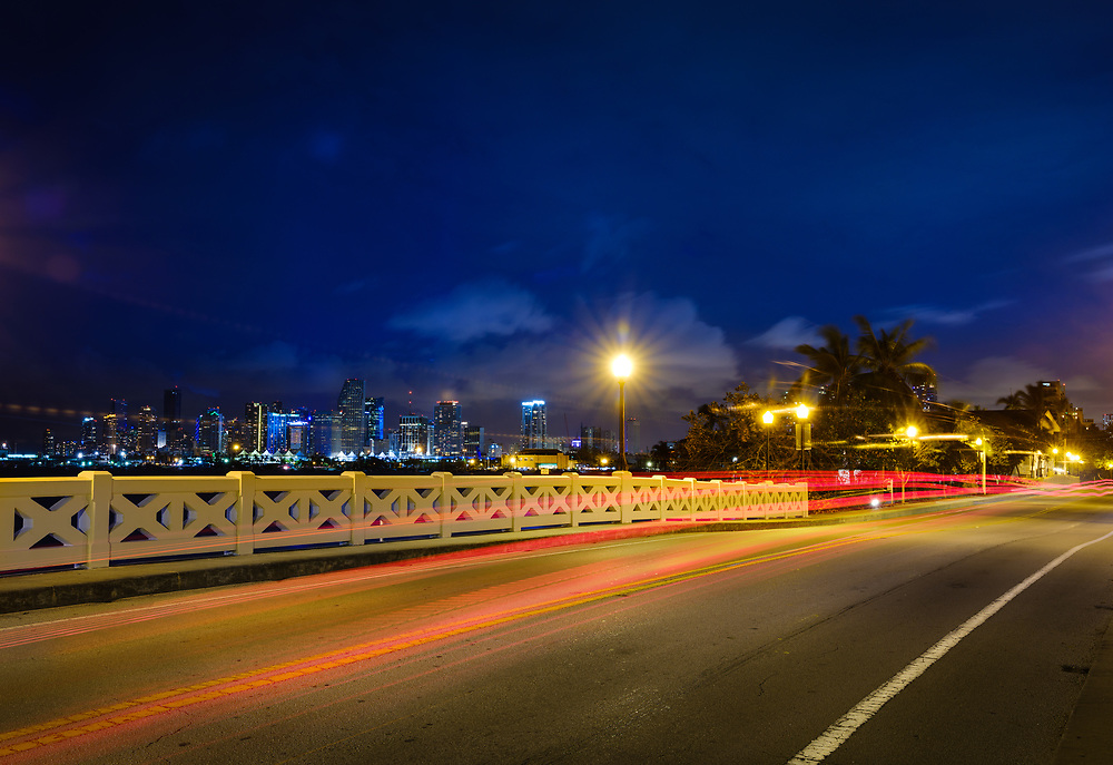 MIAMI, FLORIDA - CIRCA SEPTEMBER 2017: Venetian Causeway and Miami skyline at night.