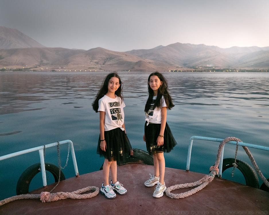 Leaving Akdamar island by ferry, crossing the Van Lake.