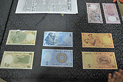 A display of Israeli bank notes from 1958