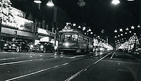 1956 Streetcar on Hollywood Blvd. at Christmastime