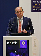 London, United Kingdom - 11 September 2019<br /> The Rt Hon Ben Wallace MP. Secretary of State for Defence for the UK Government presents keynote address speech to audience at DSEI 2019 security, defence and arms fair at ExCeL London exhibition centre.<br /> (photo by: EQUINOXFEATURES.COM)<br /> Picture Data:<br /> Photographer: Equinox Features<br /> Copyright: ©2019 Equinox Licensing Ltd. +443700 780000<br /> Contact: Equinox Features<br /> Date Taken: 20190911<br /> Time Taken: 12511449<br /> www.newspics.com