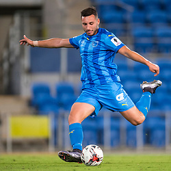 BRISBANE, AUSTRALIA - SEPTEMBER 20: Jacob Boutoubia of Gold Coast City shoots on goal during the Westfield FFA Cup Quarter Final match between Gold Coast City and South Melbourne on September 20, 2017 in Brisbane, Australia. (Photo by Gold Coast City FC / Patrick Kearney)