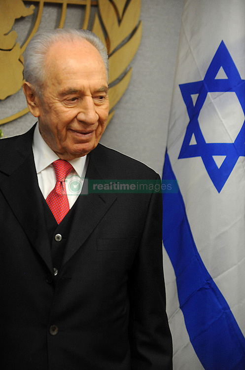 Shimon Peres, President of Israel, speaks to the media after his meeting with United Nations Secretary General Ban Ki-Moon at UN headquarters in New York on April 08, 2011. Photo by Dennis Van Tine/ABACAPRESS.COM