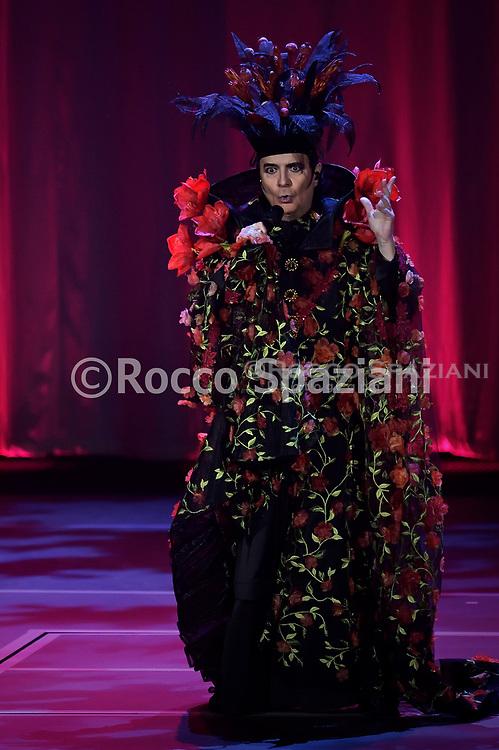 Italian singer Renato Zero performs live on the stage of the Palazzo dello Sport. Rome (Italy), January 30th, 2020