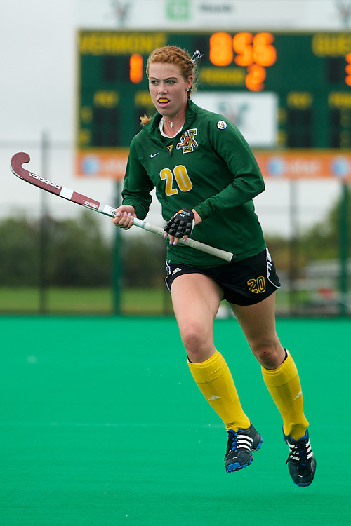 Catamounts midfielder Kelsey Bonner (20) in action during the women's field hockey game between the Maine Black Bears and the Vermont Catamounts at Moulton/Winder Field on Saturday afternoon September 29, 2012 in Burlington, Vermont.