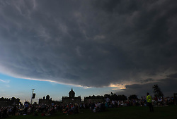 © Licensed to London News Pictures.22/08/15<br /> Castle Howard, North Yorkshire, UK. <br /> <br /> Storm clouds gather over Castle Howard as hundreds of people attend the 25th anniversary of the Castle Howard Proms event near York. The theme of the event this year is a commemoration of the 75th anniversary of the Battle of Britain and the 70th anniversary of VE day and brings an evening of classic musical favourites celebrating Britishness to the lawns of Castle Howard.<br /> <br /> Photo credit : Ian Forsyth/LNP