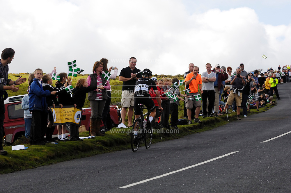 UK, September 15 2011: Rapha Condor Sharp rider Jonathan Tiernan Locke leads the race towards the first KOM sprint at Haytor during the fifth stage of the 2011 Tour of Britain. The stage started in Exeter and finished in Exmouth. Copyright 2011 Peter Horrell