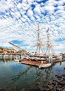 Tall Ship Pilgrim at the dock in Dana Point Harbor, CA