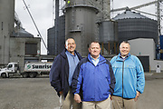 SHOT 10/29/18 9:47:56 AM - Sunrise Cooperative is a leading agricultural and energy cooperative based in Fremont, Ohio with members spanning from the Ohio River to Lake Erie. Sunrise is 100-percent farmer-owned and was formed through the merger of Trupointe Cooperative and Sunrise Cooperative on September 1, 2016. Photographed at the Clyde, Ohio grain elevator was George D. Secor President / CEO and John Lowry<br /> Chairman of the Board of Directors with  CoBank RM Gary Weidenborner. (Photo by Marc Piscotty © 2018)