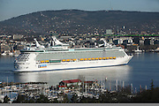 Royal Caribbean International's  Independence of the Seas, the world's largest cruise ship sails into Oslo,Norway, this morning on it's Maiden voyage.