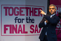 London, UK. 19 October, 2019. Sadiq Khan, Mayor of London, addresses hundreds of thousands of pro-EU citizens at a Together for the Final Say People's Vote rally in Parliament Square as MPs meet in a 'super Saturday' Commons session, the first such sitting since the Falklands conflict, to vote, subject to the Sir Oliver Letwin amendment, on the Brexit deal negotiated by Prime Minister Boris Johnson with the European Union.