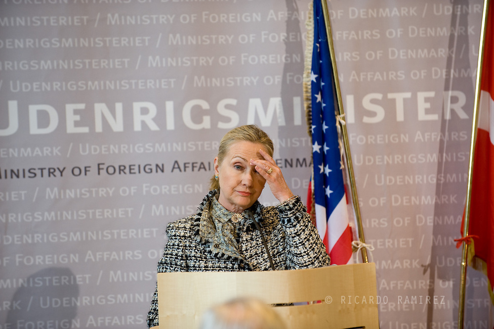 31.05.12. Copenhagen, Denmark.Secretary of State Hillary Rodham Clinton during the press conference at the Ministry of Foreign Affairs.Photo: © Ricardo Ramirez
