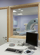control room for MRI scanner at cancer unit in hospital