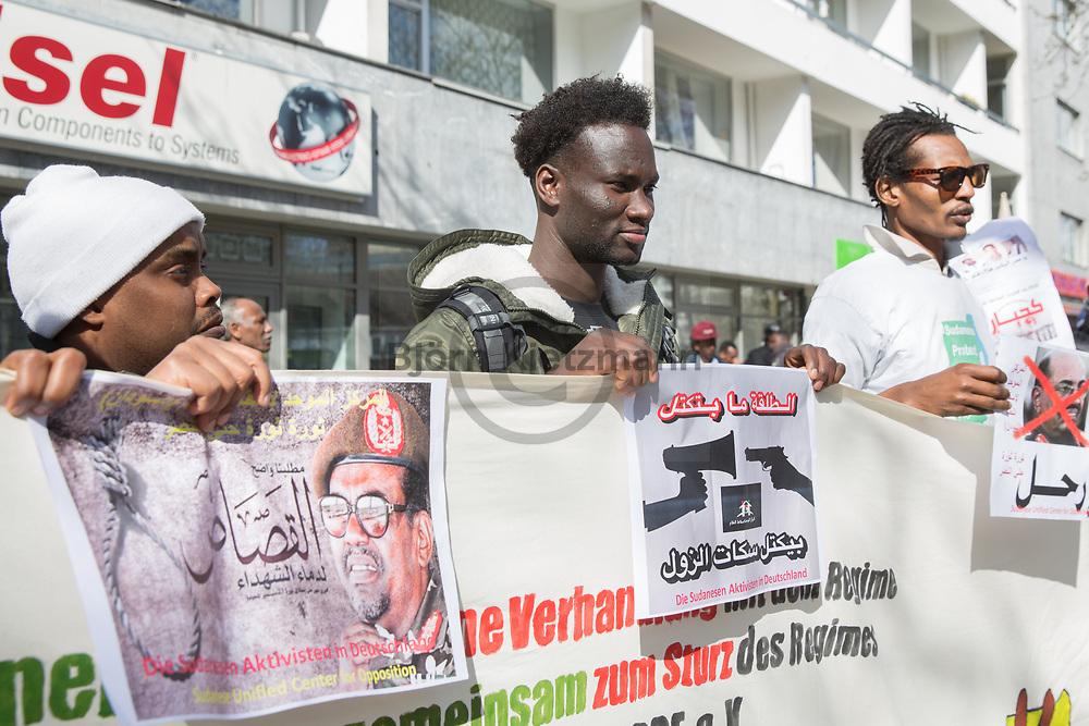 Berlin, Germany - 06.04.2017<br /> <br /> Protest of Exile-Sudanese in front of the Sudanese Embassy in Berlin. The approximately 100 demonstrators demand that President Omar al-Bashir be handed over to the International Court of Justice in The Hague.<br /> <br /> Protest von Exil-Sudanesen vor der sudanesischen Botschaft in Berlin. Die etwa 100 Demonstranten fordern, dass der Präsident Omar al-Baschir an den Internationale Gerichtshof in Den Haag ausgeliefert wird.<br /> <br /> Photo: Bjoern Kietzmann