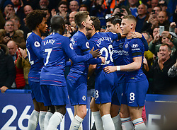 BRITAIN-LONDON-FOOTBALL-PREMIER LEAGUE-CHELSEA VS CRYSTAL PALACE.(181104) -- LONDON, Nov, 4 2018  Chelsea players celebrate the opening goal during the English Premier League match between Chelsea and Crystal Palace at Stamford Bridge Stadium in London, Britain on Nov 4, 2018. Chelsea won 3-1.  FOR EDITORIAL USE ONLY. NOT FOR SALE FOR MARKETING OR ADVERTISING CAMPAIGNS. NO USE WITH UNAUTHORIZED AUDIO, VIDEO, DATA, FIXTURE LISTS, CLUB/LEAGUE LOGOS OR ''LIVE'' SERVICES. ONLINE IN-MATCH USE LIMITED TO 45 IMAGES, NO VIDEO EMULATION. NO USE IN BETTING, GAMES OR SINGLE CLUB/LEAGUE/PLAYER PUBLICATIONS. (Credit Image: © Marek Dorcik/Xinhua via ZUMA Wire)