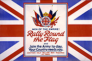 Men of the empire! Rally round the flag and join the army to-day, your country needs you. Another half million men required at once. Poster showing the flags of the Allies, against a backdrop of the British flag