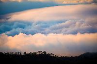 Cloud sea from the Teide National Park to the South, Tenerife Island, Canary Island. Spain.