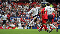 Photo: Paul Thomas.<br /> England v Andorra. European Championships 2008 Qualifying. 02/09/2006.<br /> <br /> Peter Crouch (C) scores for England.