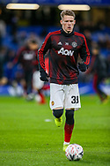 Manchester United Midfielder Scott McTominay (39) warms up before the The FA Cup match between Chelsea and Manchester United at Stamford Bridge, London, England on 18 February 2019.